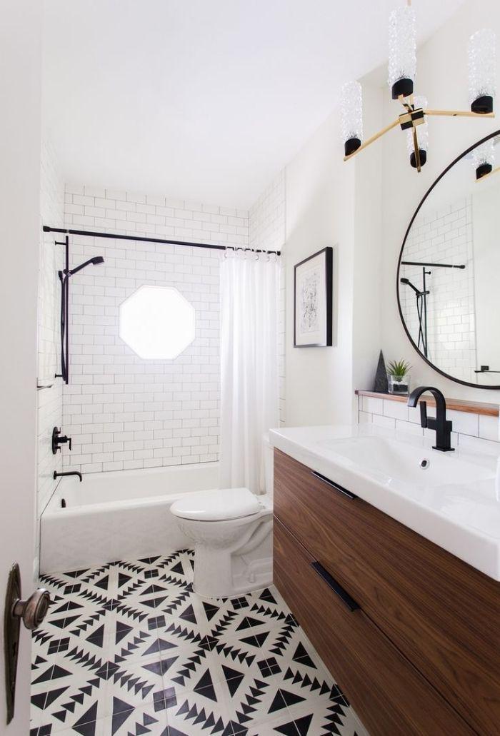 Genial Idée Déco De Salle De Bain En Blanc Et Noir Avec Meuble Bois Foncé, Modèle  De Miroir Rond à Cadre Noir Mate