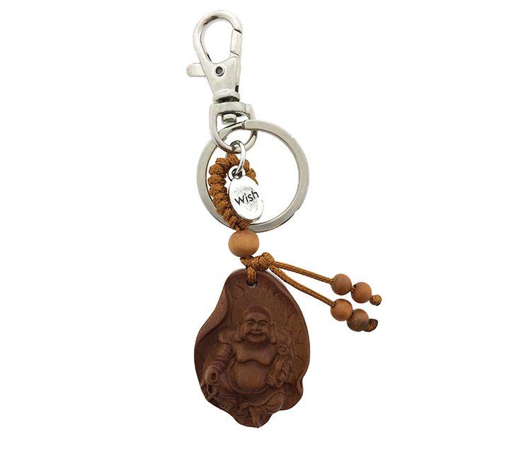 Een prachtig uit hout gesneden gelukshangertje. Deze Boeddha is uitermate geschikt om cadeau te geven. www.Millows.nl