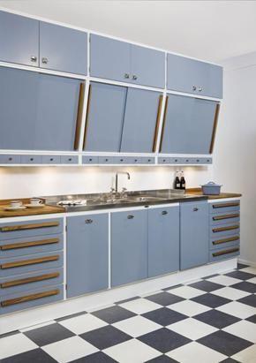 Gray retro kitchen