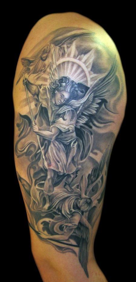 St Michael tattoo by Tony Mancia of Smyrna, GA