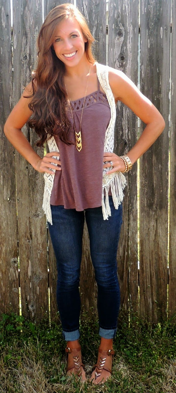 Adorable spring/summer outfit.. i have this vest & these jeans.. need undershirt & shoes!! :)
