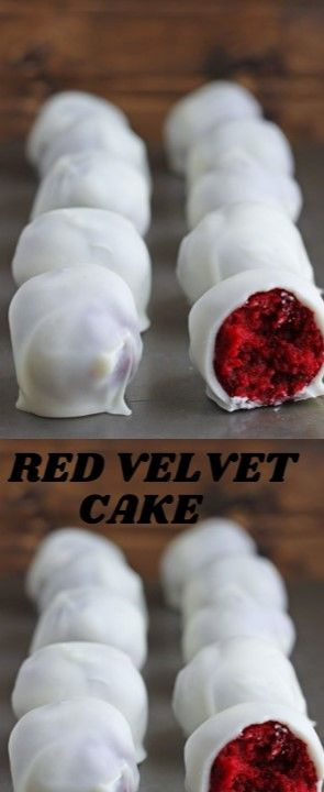 Red Velvet Cake  Red Velvet cake truffles with the withdraw cheeseflower topping…