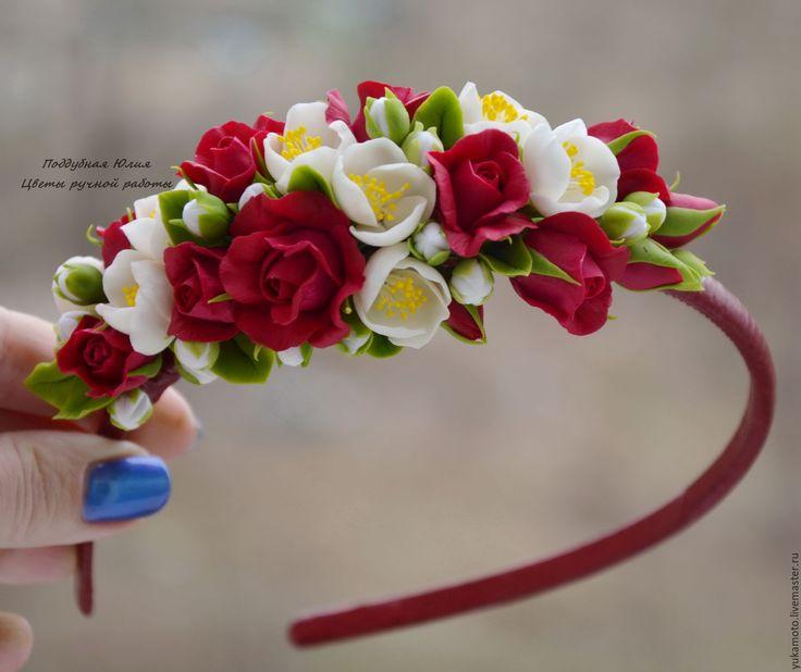 Купить Малиновый пунш - обруч с цветами - фуксия, малиновый, малиновые розочки…