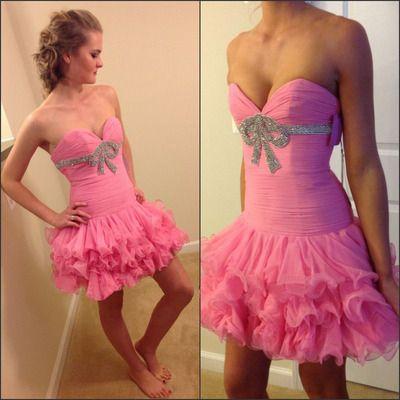 Short homecoming dress, pink prom dress, sweet heart prom dress, beading bow prom dress, cheap homecoming dress, BDS00055