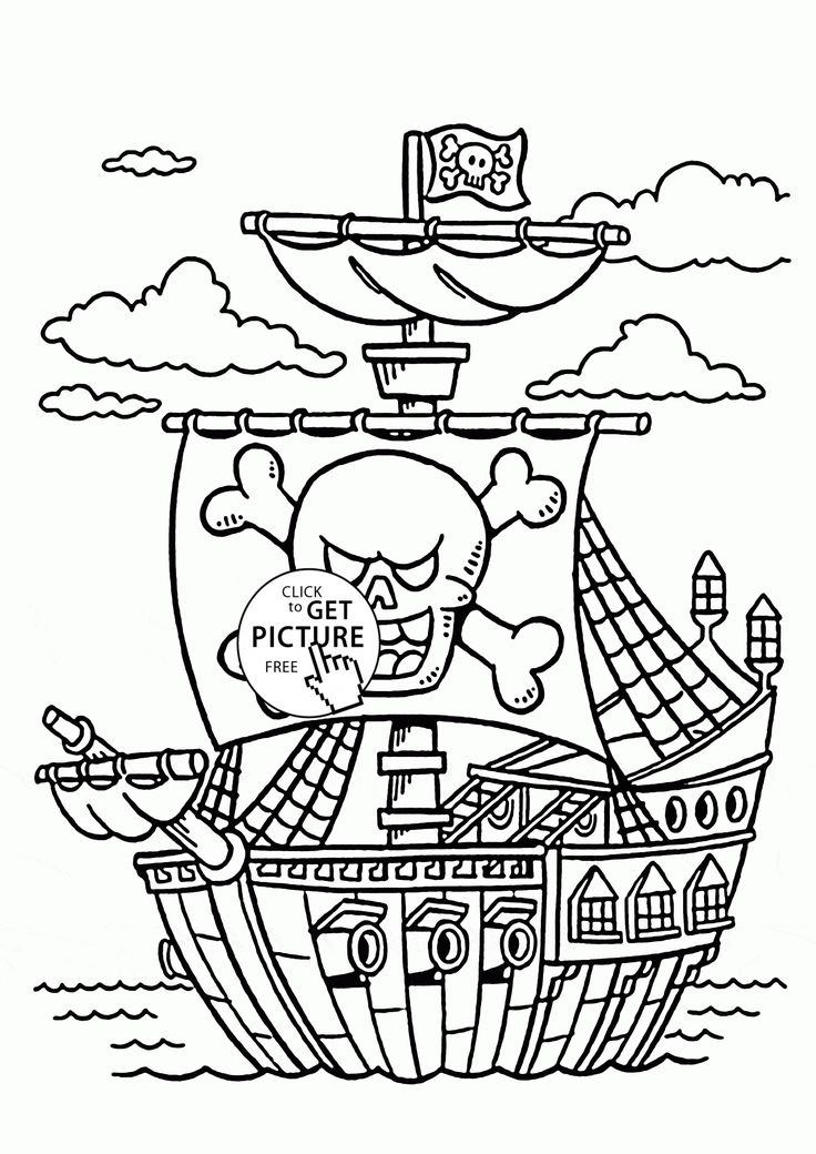 Pirate Color Pages for Kids! Pirate ships, Pirate theme