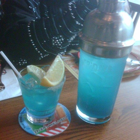 TGI Fridays Restaurant Copycat Recipes - Blue Curacao Margarita 1 1/2 oz tequila 1 oz blue curacao 1 oz fresh lime juice lime wedge for garnish salt for rim
