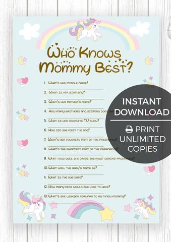 bf296f154de7c The Printable Baby Shower Games - Baby Unicorn Edition 12 Baby ...