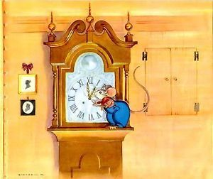 "Hickery Dickery Dock Color Nursery Rhyme Litho 1950s 8 ½"" H X 10"" W. [Categories: Nusery Rhymes; EUALIE; Platt & Munk; Childrens Book; Mother Goose; Mice; Clocks; Vintage;Hickory Dickory Dock Hickety Dickety Dock]"