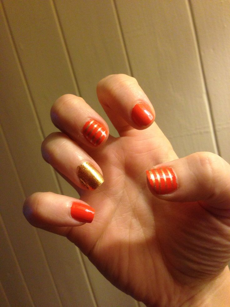 Orange and Gold Stripes Manicure