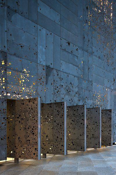 Perforated metal facade.
