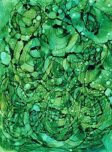 Alcohol Ink Painting - Beneath The Emerald City by Christine Crawford