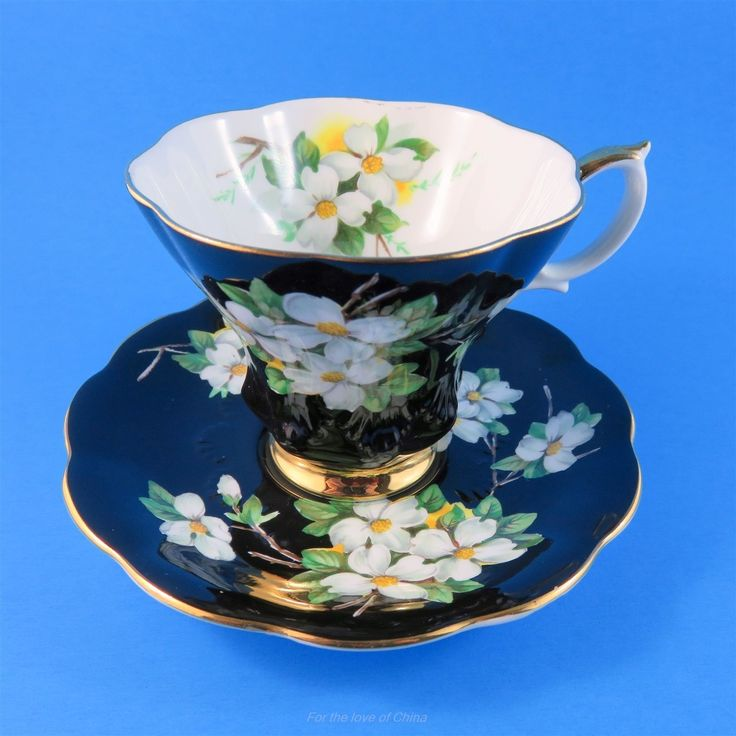 Royal Albert Dogwood on Black Tea Cup and Saucer Set | Pottery & Glass, Pottery & China, China & Dinnerware | eBay!