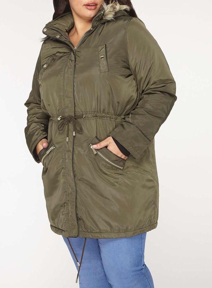 Womens DP Curve Plus Size Khaki Faux Fur Parka Coat- Khaki