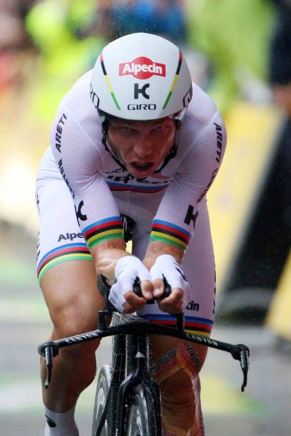 Tony Martin of Germany and team Katusha Alpecin crosses the finish line in the Individual Time Trial during stage one of the 2017 Le Tour de France a...