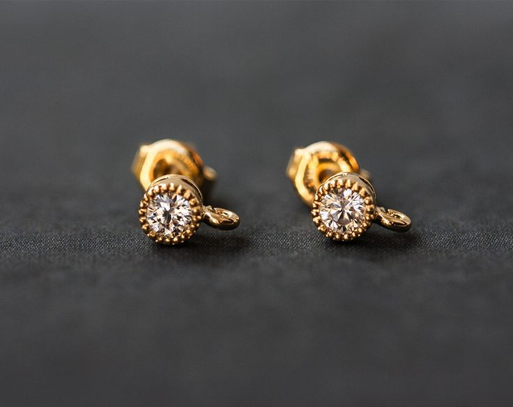 2197_Gold plated studs 4 mm, Cubic zirconia, Earring posts, Clip on earrings…