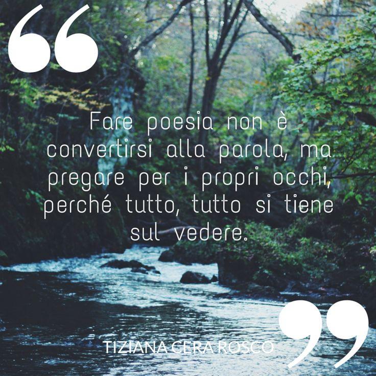 Fare #poesia non è convertirsi alla #parola ma pregare per i propri occhi perché tutto, tutto si tiene sul vedere.  #libro #ilovewriting #writer #quote #quotes #citazioni