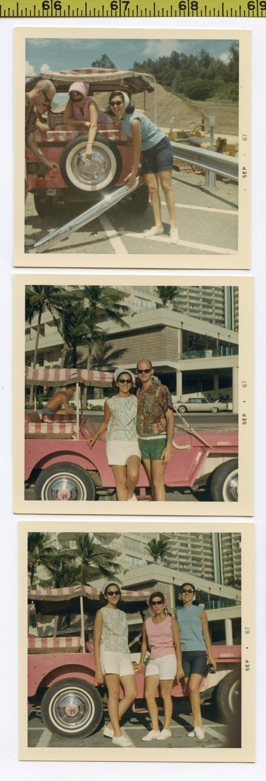 (3) Vintage 1967 JEEP photos / Pink Willys Sport & Hawaii Tourists in Sunglasses