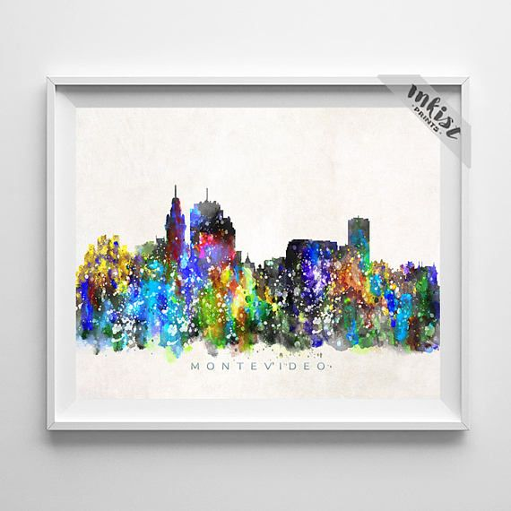 Montevideo Skyline Print, Uruguay Watercolor Painting, Cityscape, City Poster, Living Room Decor, Wall Art, Home Decor, Christmas Gift. Wall Art. PRICES FROM $9.95. CLICK PHOTO FOR DETAILS.#inkistprints #skyline #watercolor #watercolour #giftforher #homedecor #nursery #wallart #walldecor #poster #print #christmas #christmasgift #weddinggift #nurserydecor #mothersdaygift #fathersdaygift #babygift #valentinesdaygift #dorm #decor #livingroom #bedroom