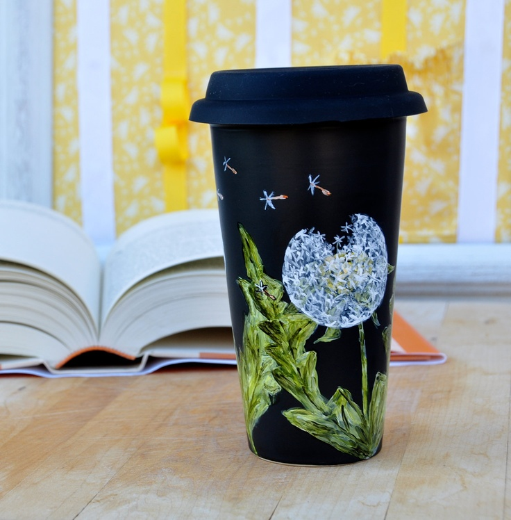 Chalkboard  Ceramic Travel Mug - Made to Order - Hand Painted Porcelain Eco Cup - White Dandelions - Black Silicon Lid. $37.00, via Etsy.