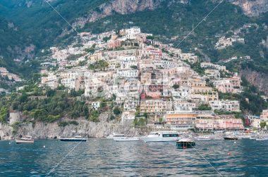 Panoramic View of Positano, Costiera Amalfitana, Italy Royalty Free Stock Photo