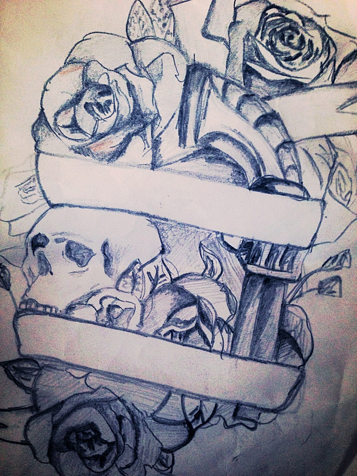 My Thigh Tattoo Sketch Skull Rose Gun Tattoos