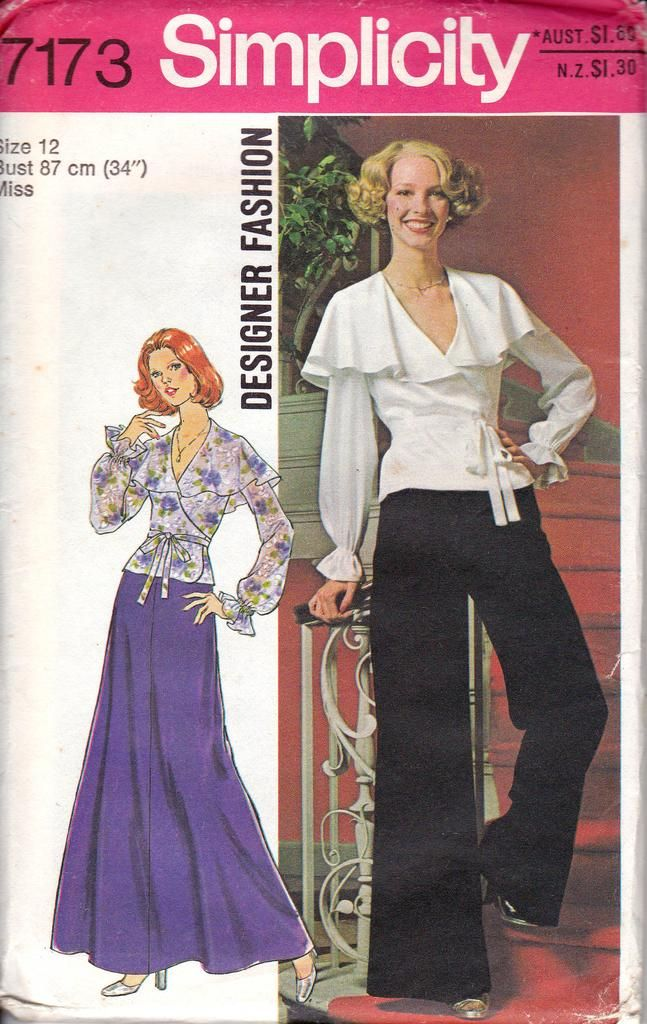 1970s Simplicity 7173 Wrap Top Maxi Skirt Flares Vintage Sewing Pattern Size 12 Bust 34 inches UNCUT Factory Folded