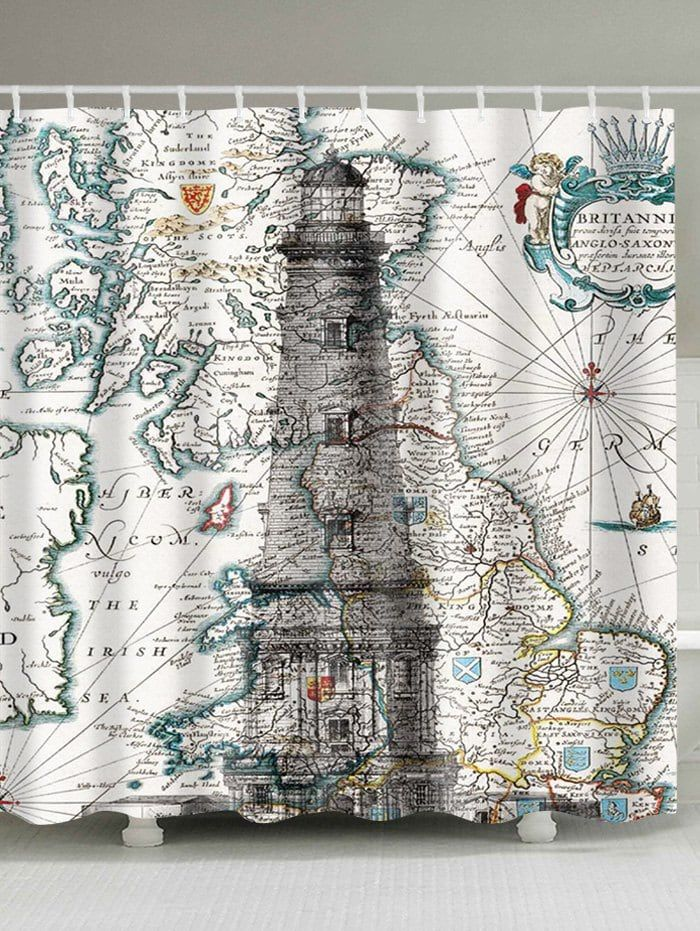 Nautical Map And Lighthouse Printed Waterproof Shower Curtain