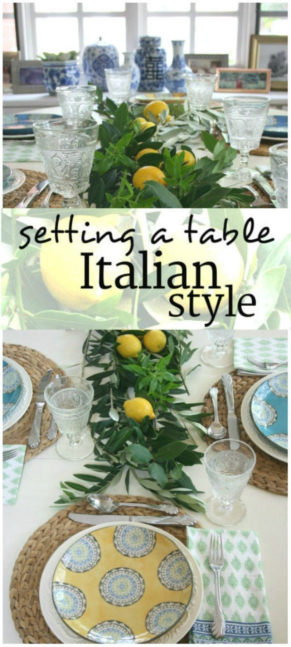 Setting the Table Italian Style | gather some olive and bay branches and use them as a backdrop for a few colorful lemons.