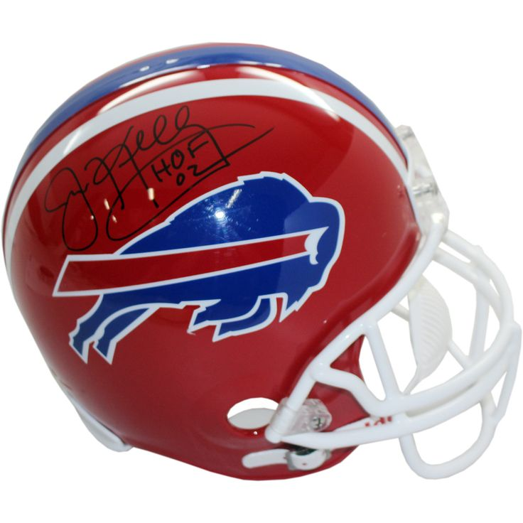 Jim Kelly Buffalo Bills Replica Helmet wHOF Insc. Signed in Black - Jim Kelly is one of the all-time great quarterbacks. He helped lead the Buffalo Bills to four consecutive Super Bowls from 1990- 93. Kelly is the only quarterback to play in 4 straight Super Bowls. Kelly was introduced into the Pro Football Hall of Fame in 2002 after spending 11 seasons with the Bills. Jim Kelly has hand signed this Buffalo Bills replica helmet and added his HOF 02 inscription. A Steiner Sports Certificate…