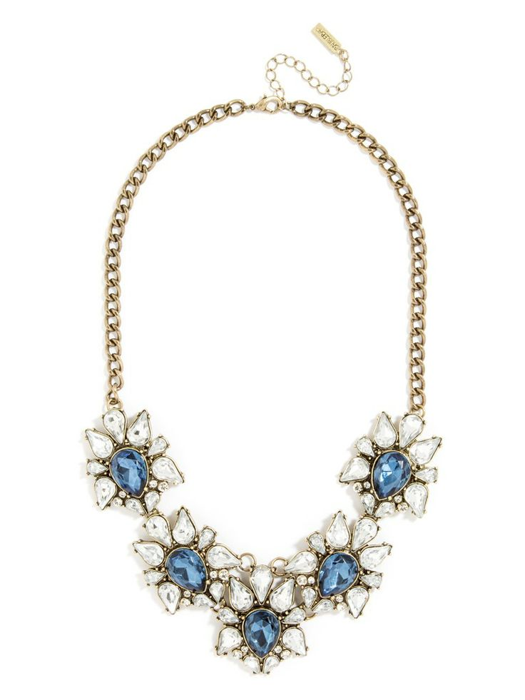 Teardrops are the shape à la mode for the gemstones in this pretty blue statement necklace inspired by an abstract floral design.