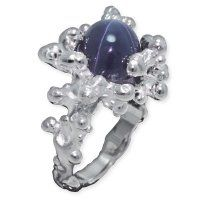 "Bague ""Koro"" or blanc, diamants et saphir étoilé"