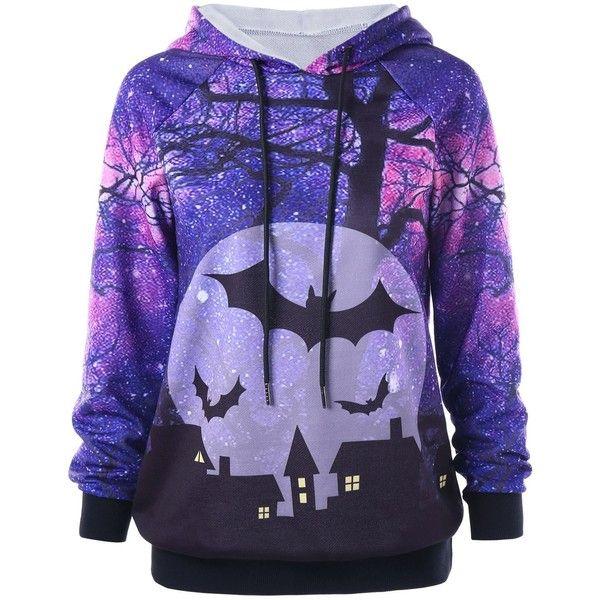 Purple 5xl Holloween Plus Size Printed Raglan Sleeve Hoodie ($17) ❤ liked on Polyvore featuring tops, hoodies, purple hooded sweatshirt, plus size hoodies, hooded sweatshirt, purple top and women's plus size hoodies