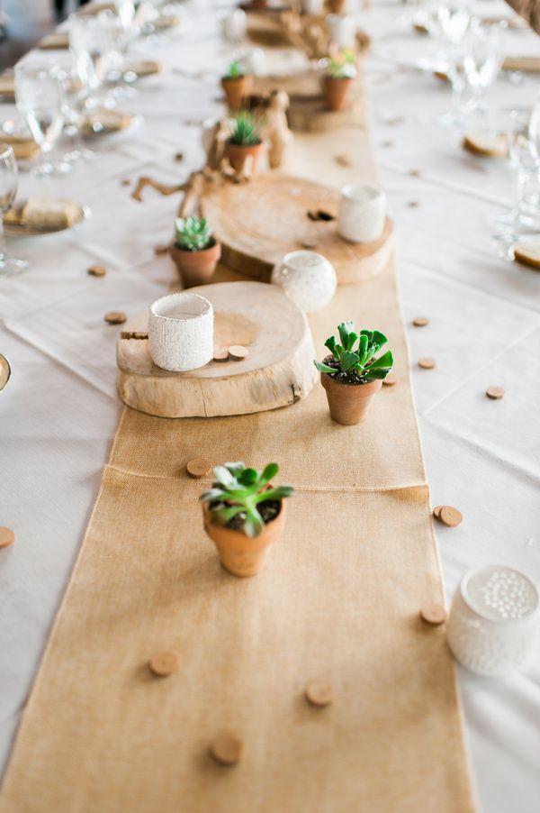 burlap and succulents, photo by Brittany Lauren Photography http://ruffledblog.com/leftbank-annex-wedding #weddingreception #tablerunner