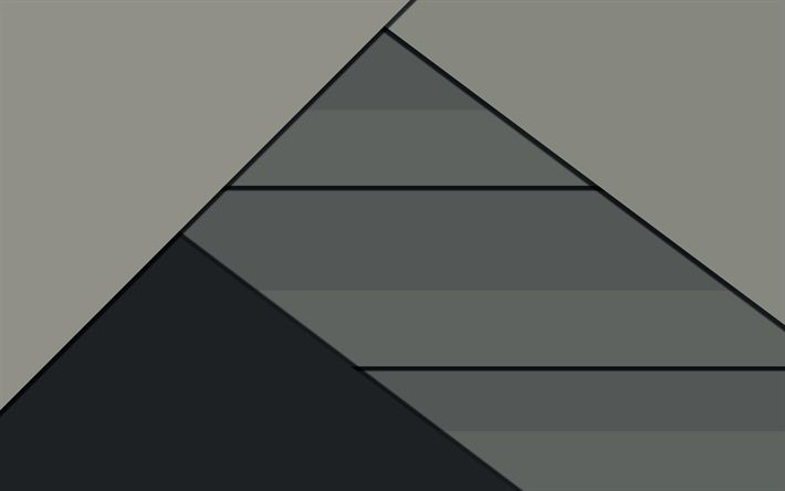 Download wallpapers 4k, triangle, abstract backgrounds, geometry, dark material, art