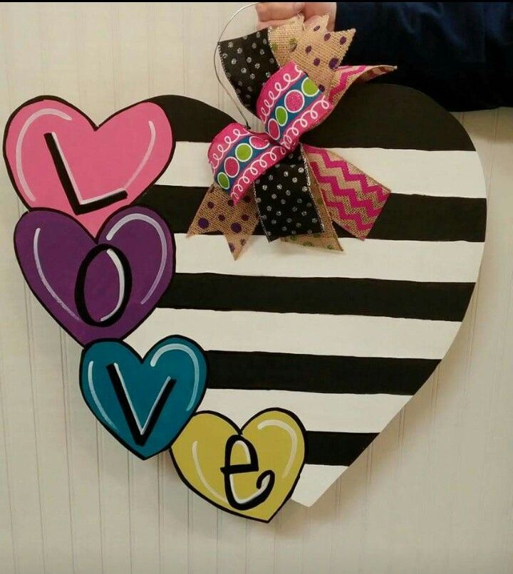 Five Heart Door Hanger Valentine S Door Hanger Craft Night Out