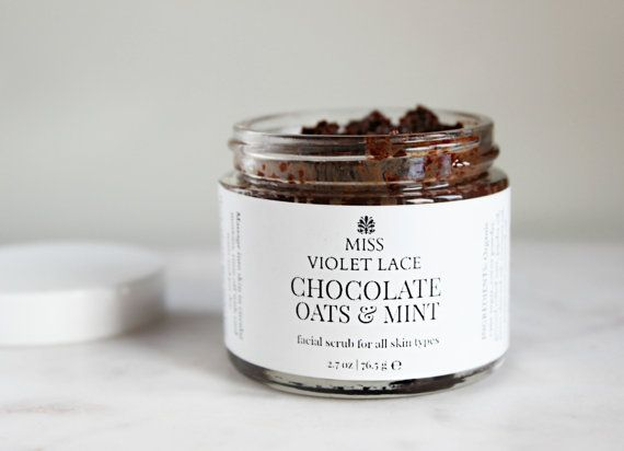 Chocolate Facial Scrub  Chocolate Oats  Mint by MissVioletLace