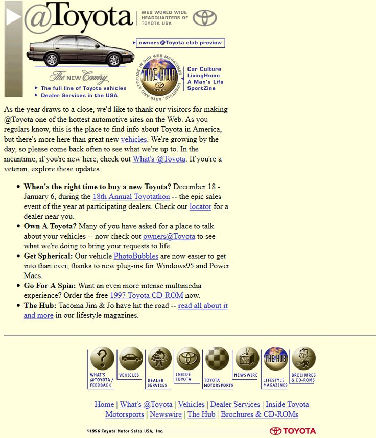 Toyota website in 1996