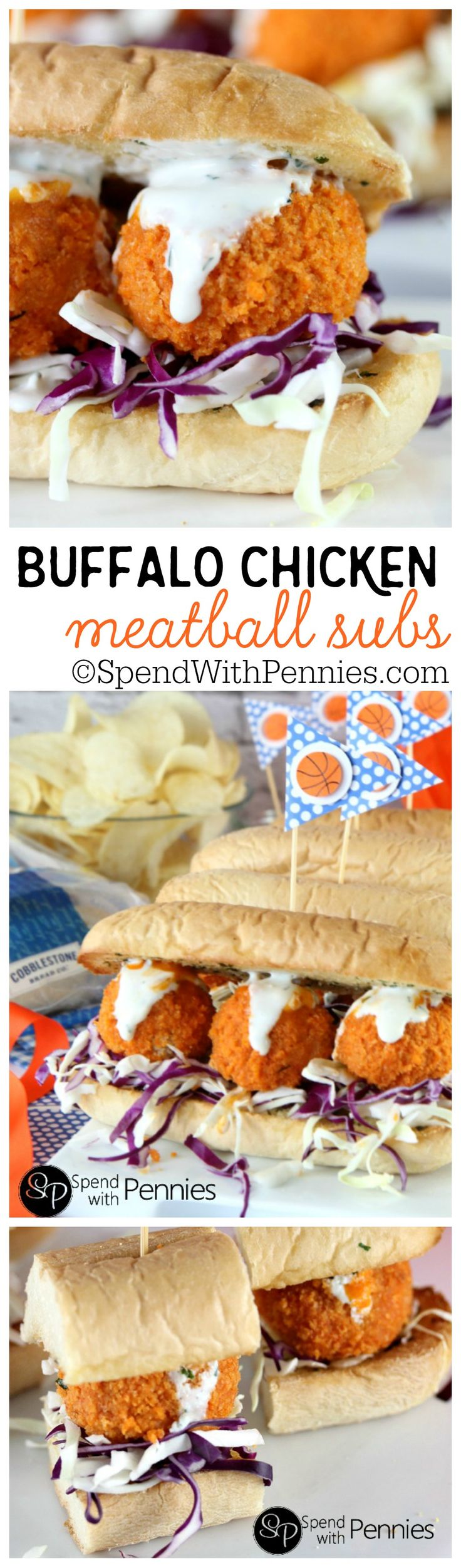 Buffalo Chicken Meatball Subs!  Like Buffalo Wings? You'll LOVE these!! Tender chicken meatballs baked crispy in the oven, rolled in buffalo sauce & topped with dip!  These can be served as buffalo chicken sandwiches or sliders! Bring on March Madness! @CBCBreads #ShareaSandwich #MarchMadness