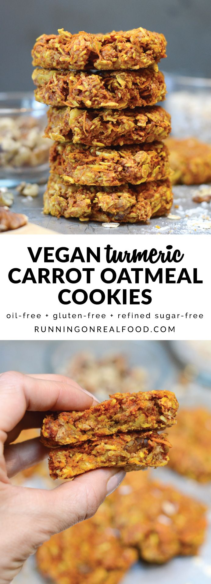 These vegan turmeric carrot oatmeal cookies have the most wonderful, hearty texture. They're oil-free, naturally sweetened, gluten-free and taste amazing! Loaded with nutrition from walnuts, natural peanut butter, coconut, turmeric, carrots and rolled oats. via @runonrealfood