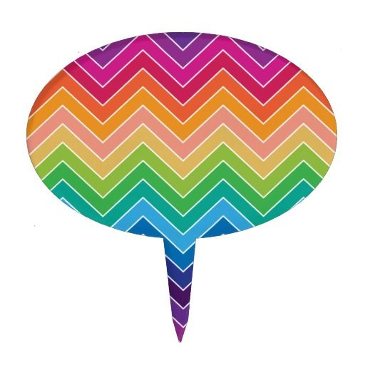 Rainbow Chevron Pattern Modern gifts Cake Toppers