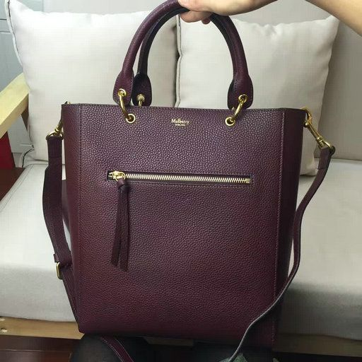 2017 Spring Mulberry Small Maple Tote Bag Oxblood Natural Grain Leather