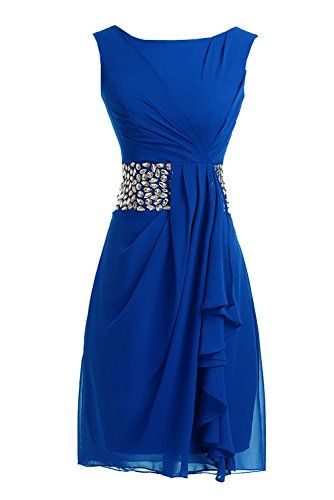 Sunvary 2014 Short Cocktail Dresses Mother of the Bride Dresses Chiffon - US Size 16- Royal Blue