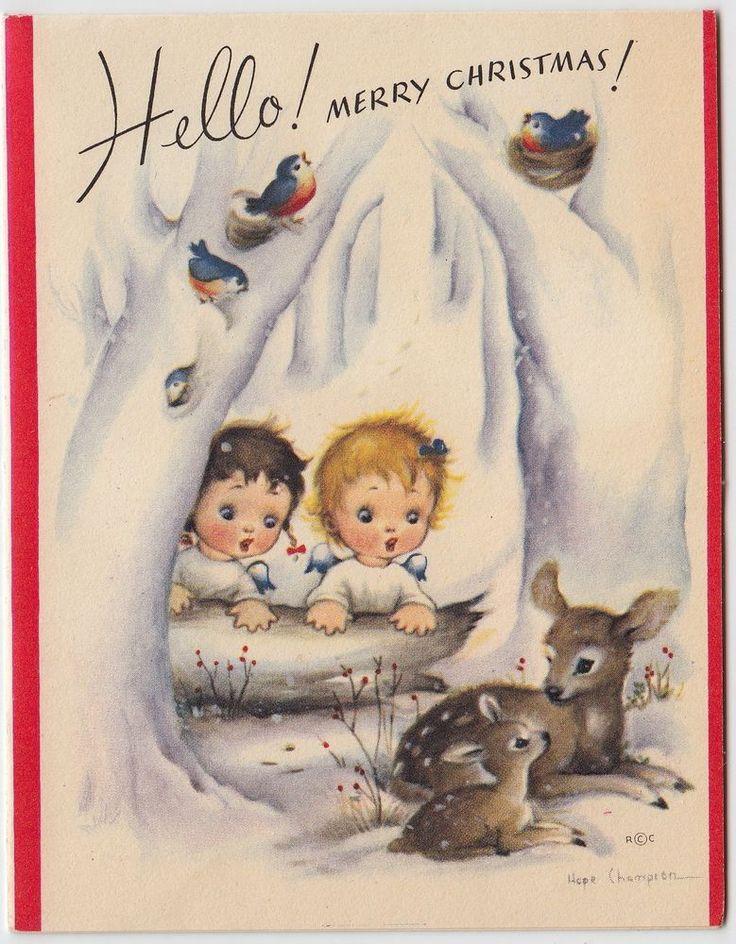 Vintage Greeting Card Christmas Children Deer Hope Champion Rust Craft 50s e233