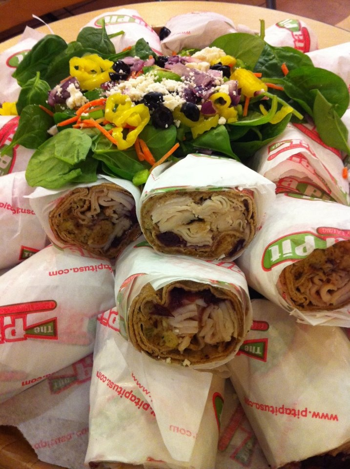Pita Pit Catering and Boxed Lunches.  A great morale booster. Your customers will leave happy. The Meetings will end sooner. Pita Pit of Louisville delivers for free.