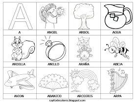 Alfabeto en palabras de la A a la Z.   Palabras con A vía rayitodecolores.blogspot.com