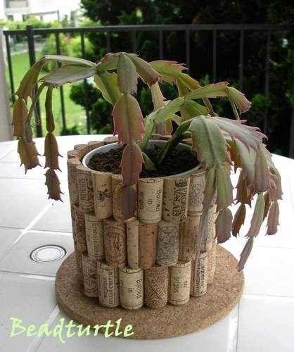 wine cork flower pot