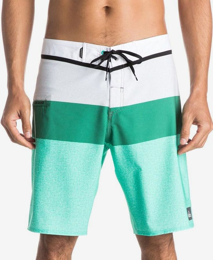 Bold colorblocking on these drawstring swim trunks from Quiksilver add  plenty of flair to your beach