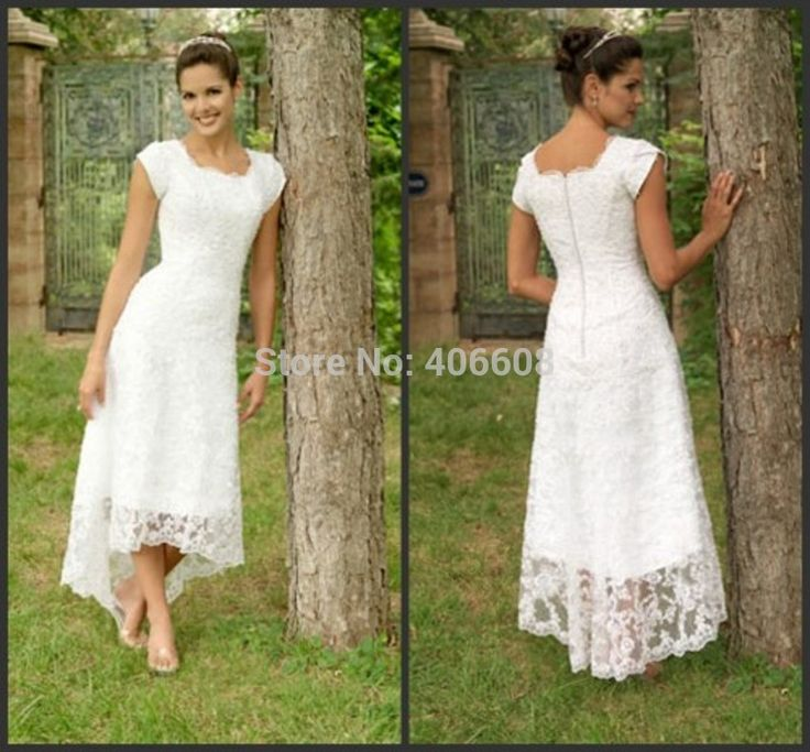 Find More Wedding Dresses Information about 2014 New Arrival Scoop Lace A Line Tea Length Wedding Dresses With Sleeves,High Quality Wedding Dresses from Forever Lover Bridal on Aliexpress.com