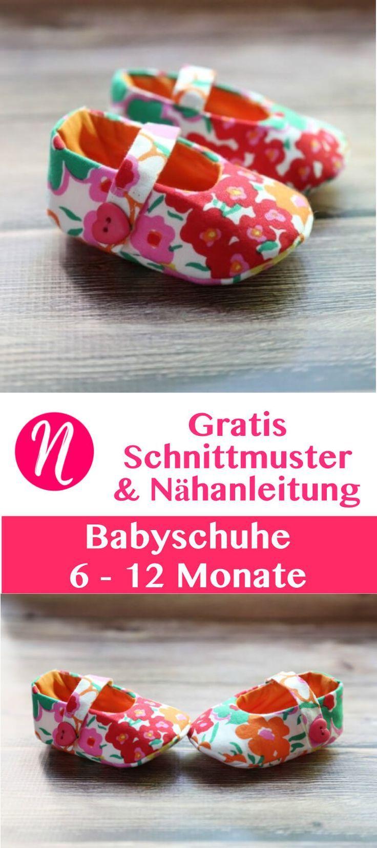 Freebook - Babyschuhe selber nähen mit Nähanleitung ❤️ 6 - 12 ❤️ leicht - Für Anfänger geeignet ❤️ Nähtalente - Magazin für kostenlose Schnittmuster - free sewing pattern for baby shoes for 6 - 12 Month