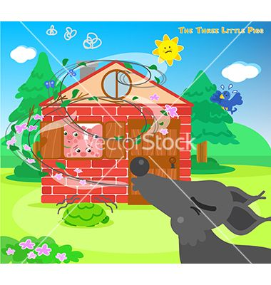 Three little pigs and blowing wolf vector